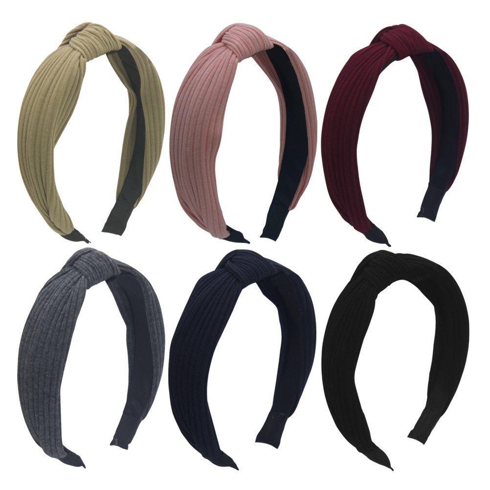 Habibee Pack of 6 Wide Plain Fashion Headbands Knot Turban Headband for Women Girls (Hairbands 6pcs)