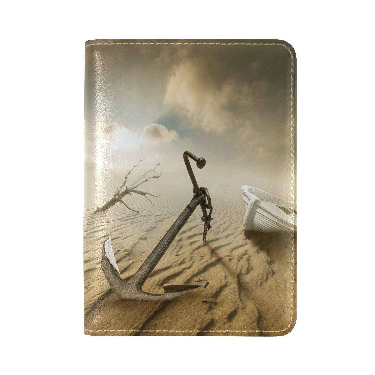 Art Desert Boat Genuine Leather UAS Passport Holder Travel Wallet Cover Case