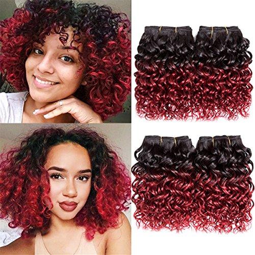 Ameli Hair 4 Bundles Short Human Hair Bundles Brazilian CurlyHair Ombre Kinky Curly Virgin Human Hair Weave 50G/Pcs Unprocessed Brazilian Hair Extensions 8 inch 1B/BUG#