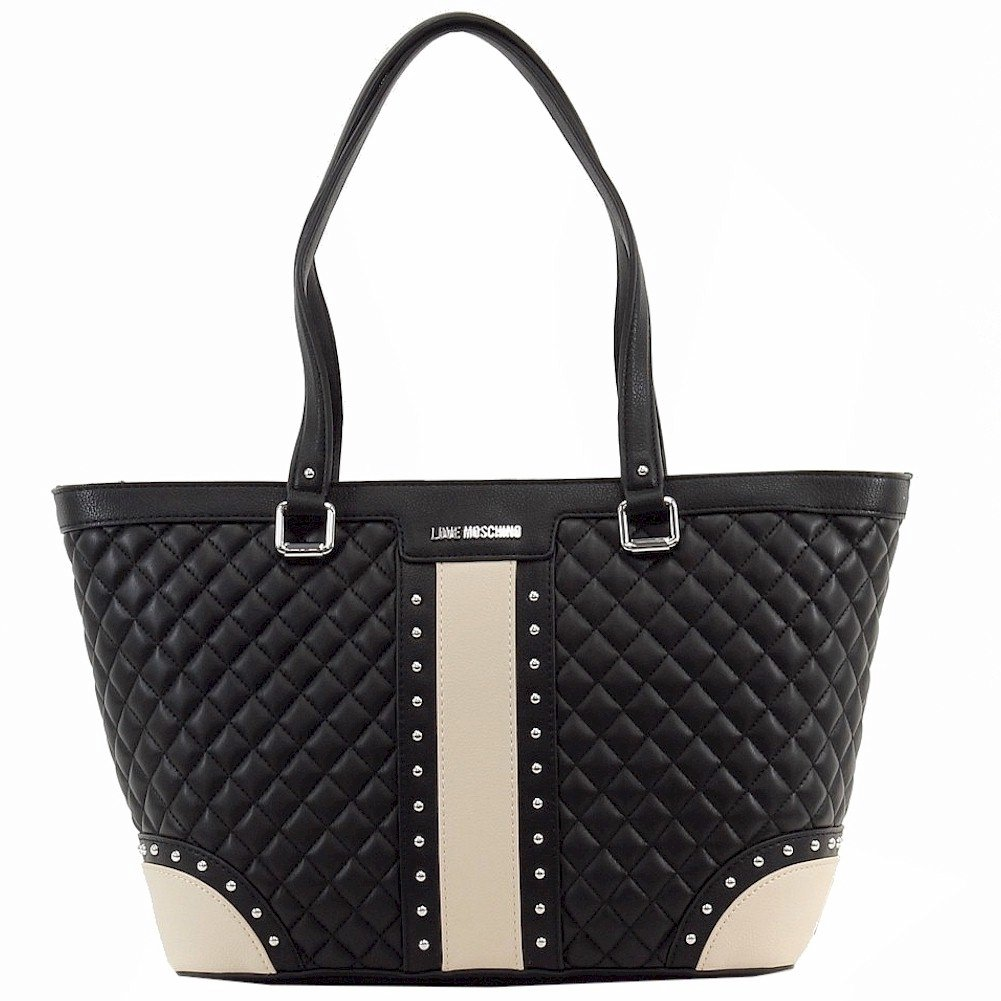 Love Moschino Women's Black/Beige Quilted & Studded Tote Handbag