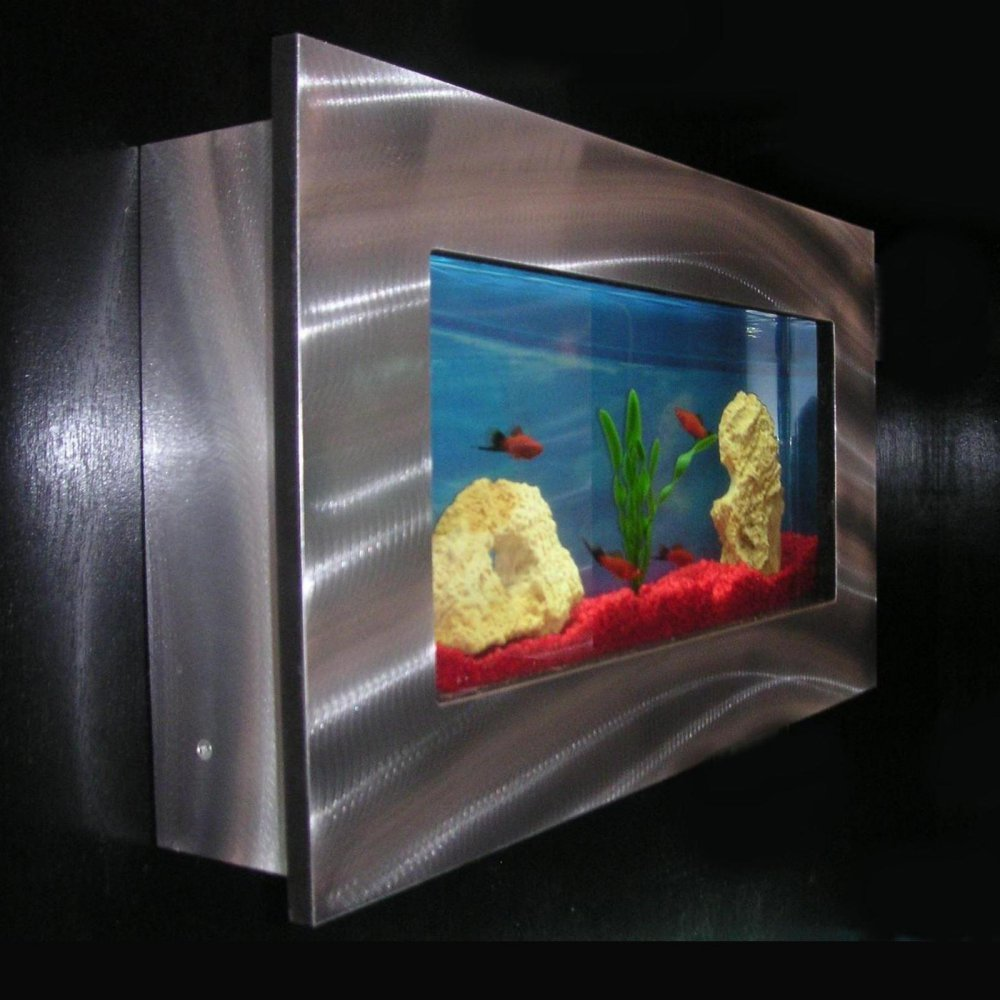 Amazon bayshore aquarium bw1slvr small rectangular wall amazon bayshore aquarium bw1slvr small rectangular wall aquarium silver aquarium starter kits pet supplies jeuxipadfo Images