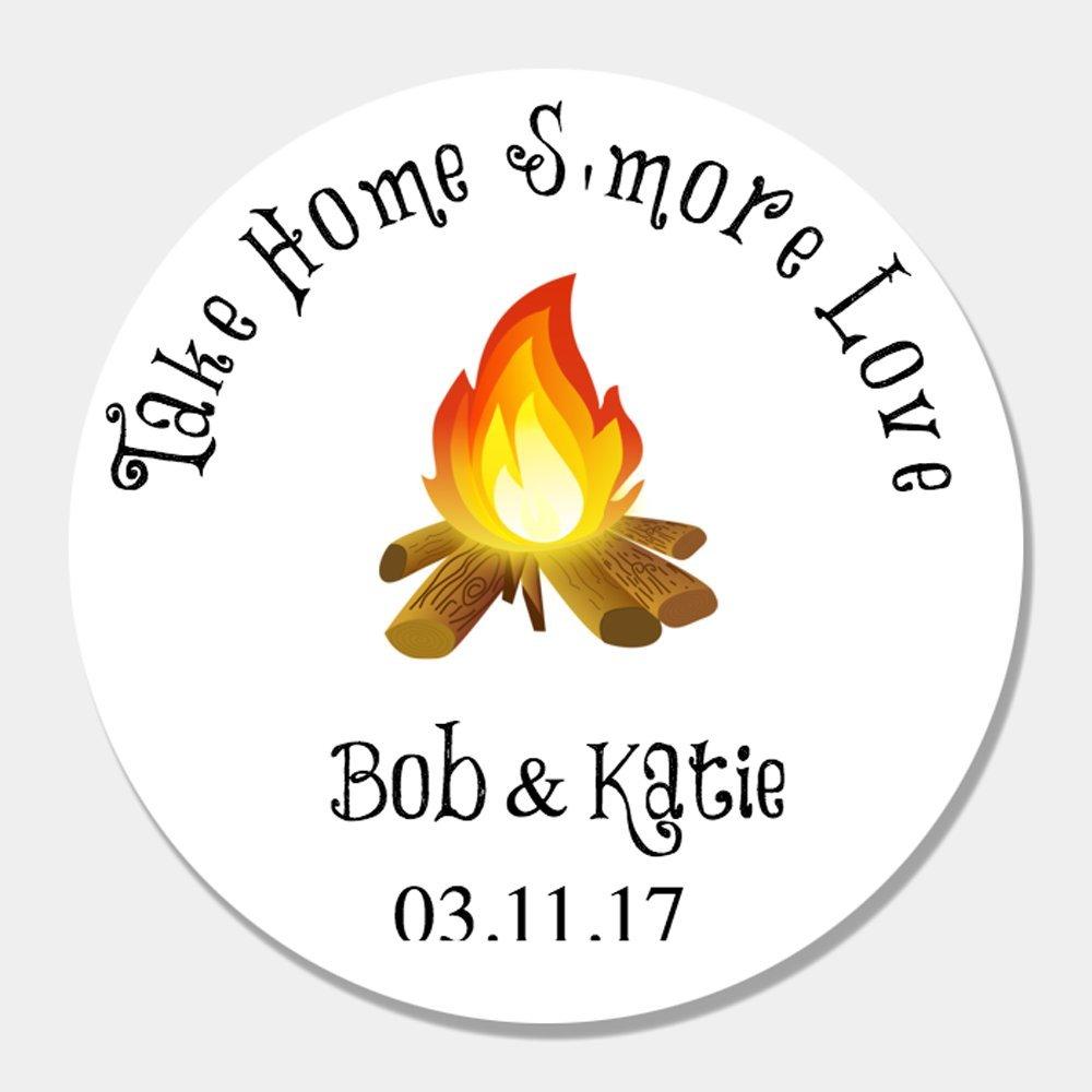 40 Customized S'More Love Wedding Favor Sticker Labels - S'More Wedding Favors - Wedding Favor Tags