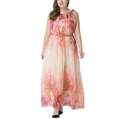 47ca3e95b1d Image Unavailable. Image not available for. Color  LUOEM Women Sleeveless  Chiffon Beach Holiday Dress ...