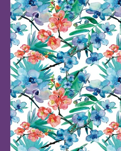 Download Sketch Journal: Watercolor Flowers (Red and Blue/Purple) 8x10 - Pages are lightly lined with EXTRA WIDE RIGHT MARGINS for sketching, drawing, and ... Flowers Side Sketch Journal Series) ebook