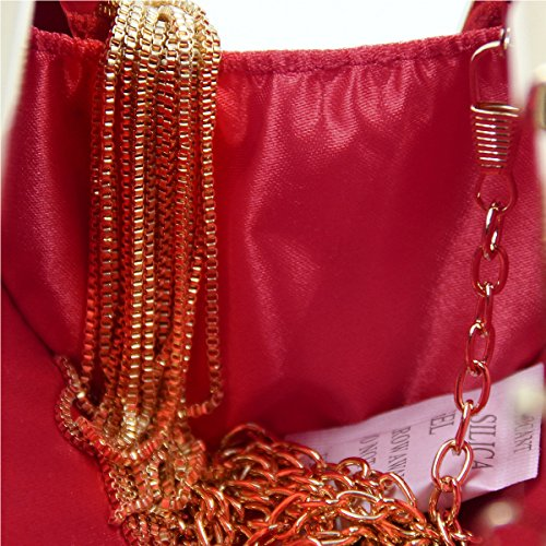 Handbags Pendant Ladies Purple Women Clutches Wedding Flada Satin and with Evening Tassel bags Red 84SWwqFxP