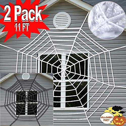 Halloween Decoration Clearance Outdoor Giant Spider Web 11ft Mega Large Cobweb Super Stretch Halloween Party Favor Scary Haunted House Indoor Window Walls Yard Front Door Porch Office -