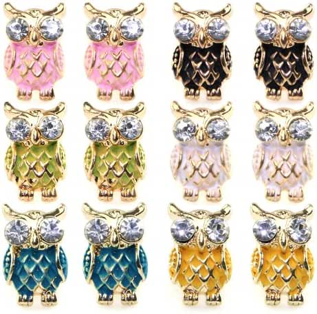 JewelrieShop 6 Pairs Assorted Colors Owl NightHawk Earrings Cute Enamel Paint Stud Earrings