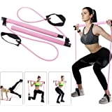 Portable Pilates Bar Kit with Resistance Band,Home Gym Pilates Yoga Exercise Bar with Foot Loop for Total Body Workout