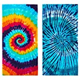 Kaufman - Tie-Dye Velour Beach & Pool Towel Set - 30in x 60in