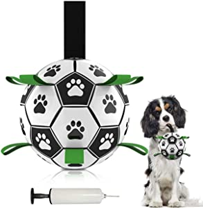 Watsango Dog Soccer Ball with Grab Tabs, Indoor-Outdoor Dog Toy Football Fetch Throw Ball, Interactive Dog Toys Balls for Tug of War, Dog Water Toy