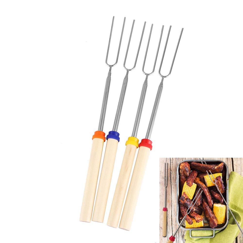 Forks - 1pc Camping Campfire Dog Telescoping Roasting K Bbq Ks Outdoor - Barbecue Food Holder Garlic Baby Roast Grill Barbecu Roaster Steamer Stainless Chicken Metal Stencil Digital Claw Plant