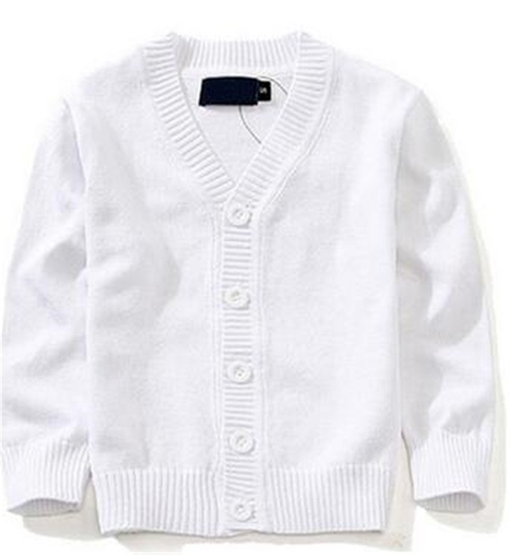 Winyersnow Sweaters Candy-Colored Baby Boys Girls Single-Breasted Jacket Outer Wear White 4T