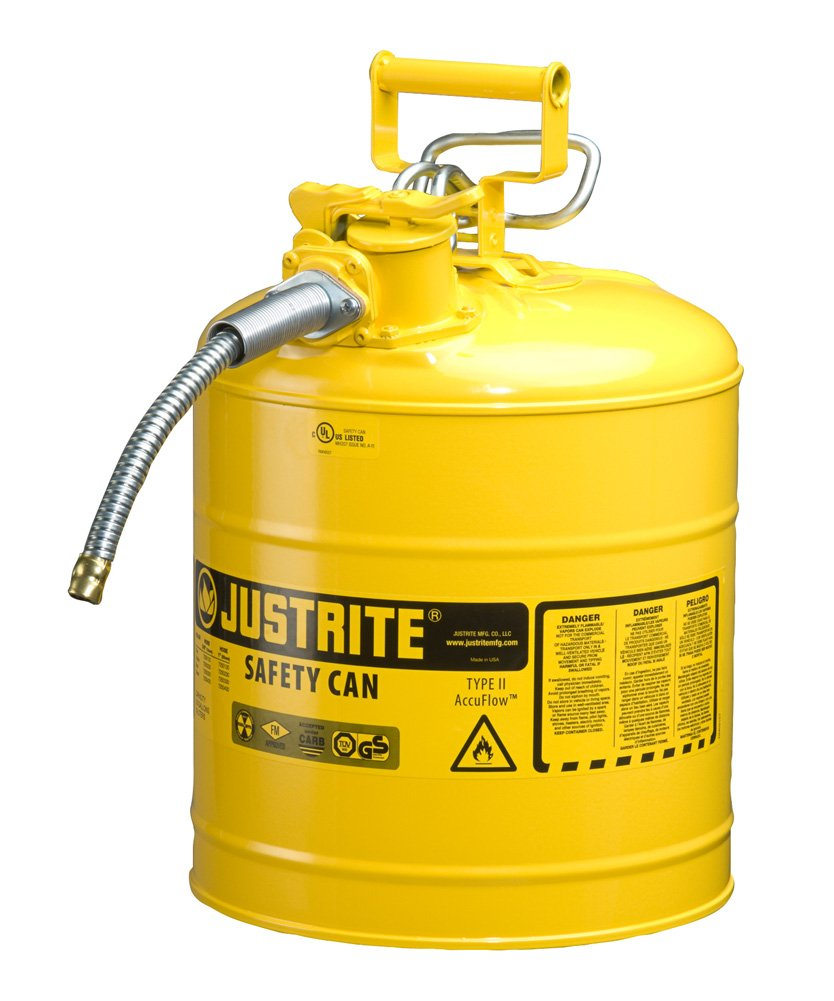 Justrite AccuFlow 7250220 Type II Galvanized Steel Safety Can with 5/8'' Flexible Spout, 5 Gallon Capacity, Yellow