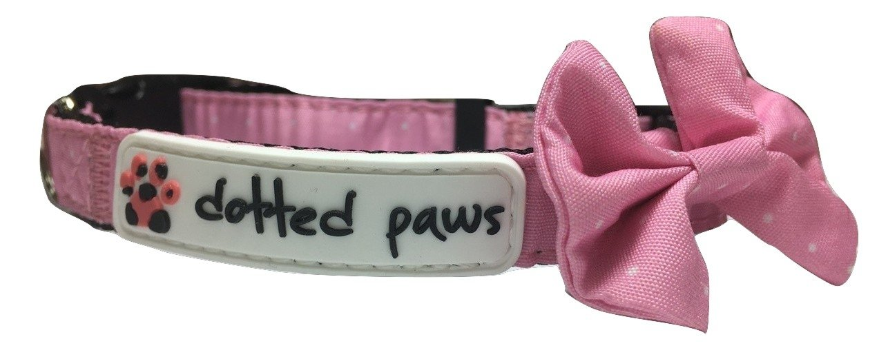 Dotted Pink Small Dotted Pink Small Dotted Paws Dog Cat Collar Bow Tie Cute Polka Dots Print Small Dotted Pink Neoprene Padded