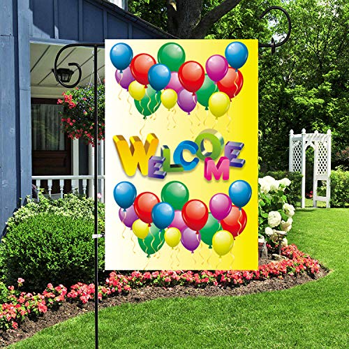 Alitercy Colorful Balloons Welcome Garden Flag, 12 x 18 inch Double Sided Yard Flag Burlap Welcome Quotes Indoor and Outdoor Home Decoration