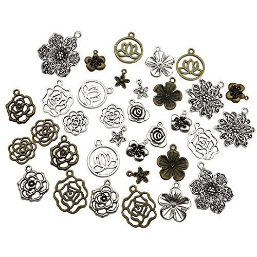 (100g Craft Supplies Mixed Flower Beads Charms Pendants for Crafting, Jewelry Findings Making Accessory For DIY Necklace Bracelet (Flower charms M93))