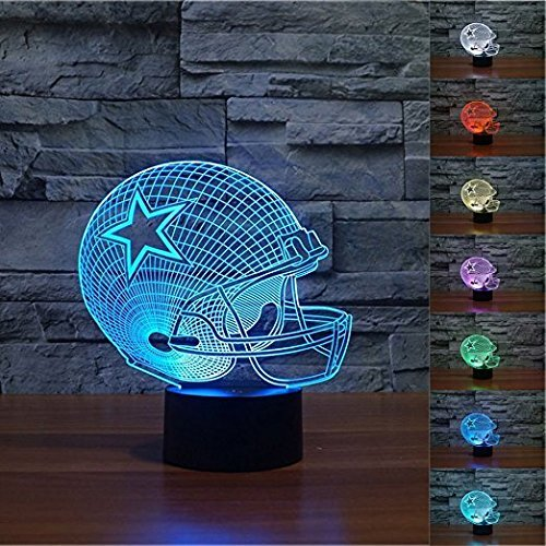 Threetoo Visual Creative Amazing 7 Colors Optical Illusion 3D Glow LED Lighting Nightlight Room Decor Table Lamps (Helmet) Dallas Cowboys