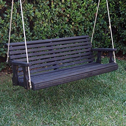 CAF Amish Heavy Duty 800 Lb Roll Back Treated Porch Swing with Hanging Ropes 5 Foot, Semi-Solid Black Stain