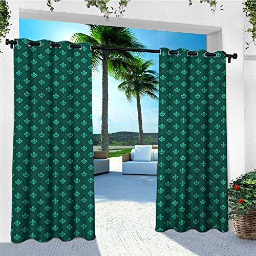 - leinuoyi Fleur De Lis, Outdoor Curtain Set of 2 Panels, Diagonal Checkered Pattern with Heraldic Symbols Retro Royal French, Balcony Curtains W120 x L96 Inch Sea Green Jade Green