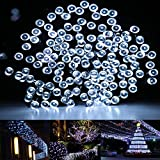 RockBirds SL200-W 200 LED Outdoor String Light Solar Powered 1800mAH Waterproof Starry Fairy Lighting Christmas Decoration Lights Neon Signs (White)