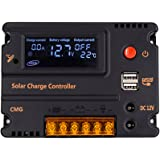 COSSCCI 10A 12V/24V Solar Charge Controller, Solar Panel Battery Intelligent Regulator with Auto Switch, LCD Display Intelligent USB Port, Overload Protection &Temperature Compensation
