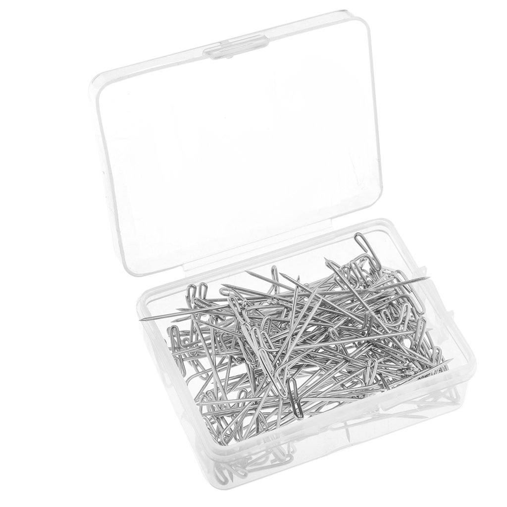 27 mm Baoblaze 100 Pieces Wig T-Pins Stainless Steel with Plastic Box for Blocking Knitting,Modelling Crafts