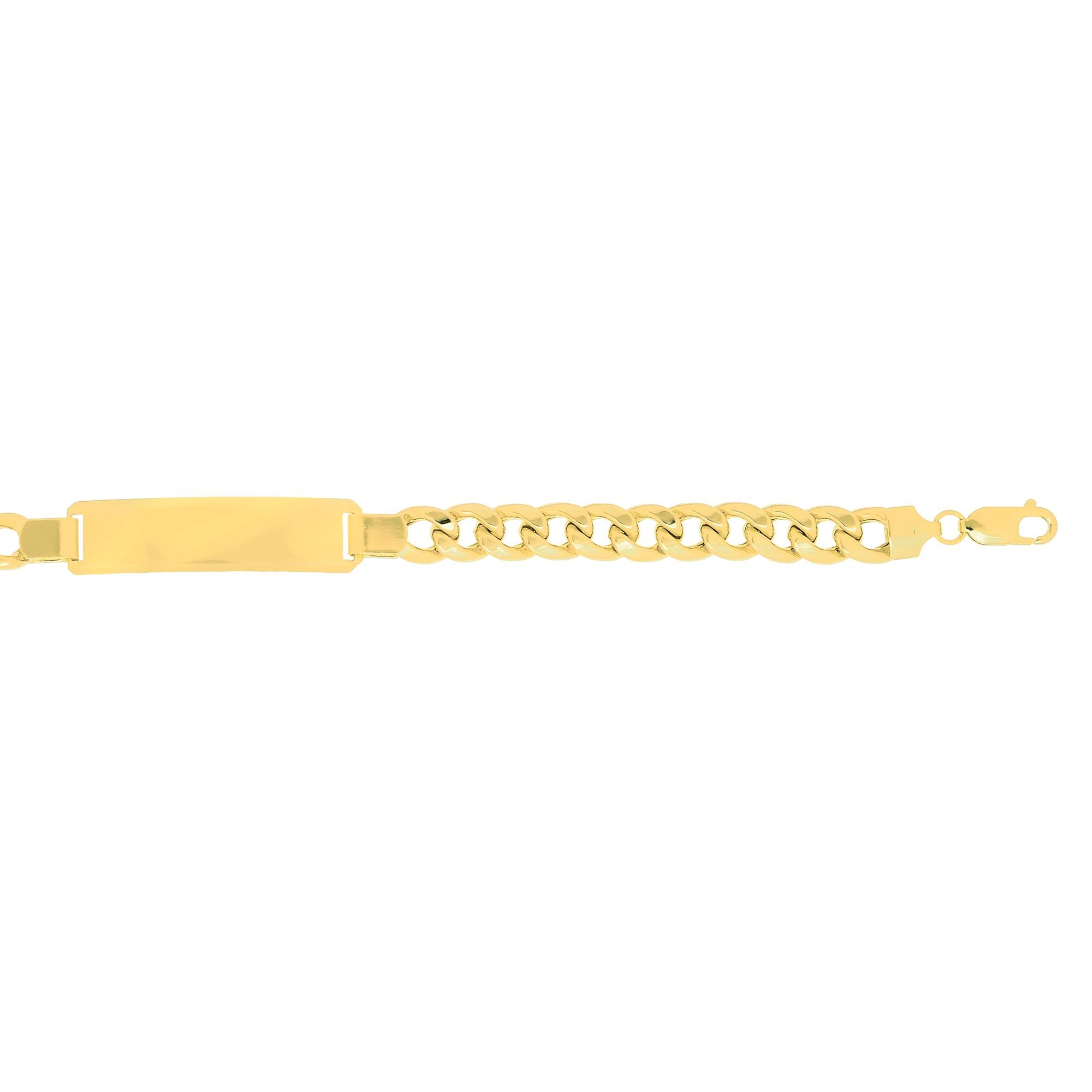 14k 8.5'' Yellow Gold 8mm Lite Miami Cuban Link ID-Bracelet with Lobster Clasp