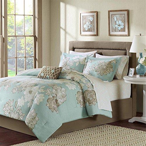 Madison Park Essentials Avalon Queen Size Bed Comforter Set Bed in A Bag - Aqua, Khaki, Floral - 9 Pieces Bedding Sets - Ultra Soft Microfiber Bedroom Comforters Avalon Bedroom Bedroom Set