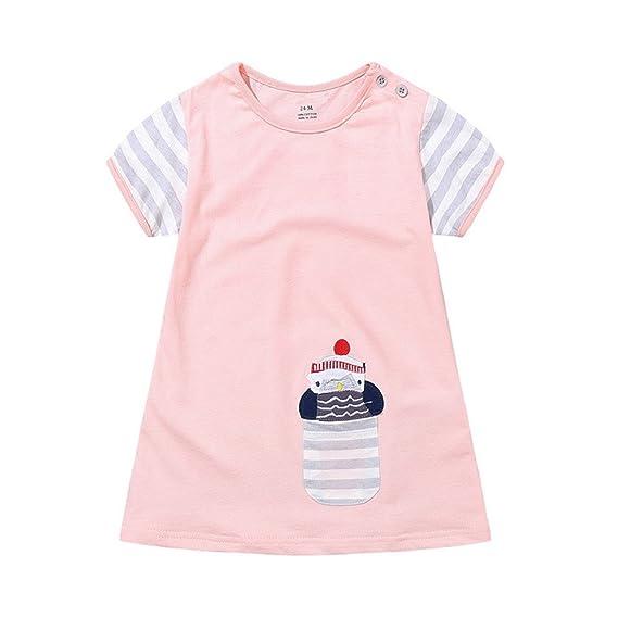 ab4a60008ca Amazon.com  Wesracia 2~5 Year-Old Baby Girls Undershirts Summer Pink  Nightgown for Baby Girls Cartoon Long Tees Shirts  Clothing