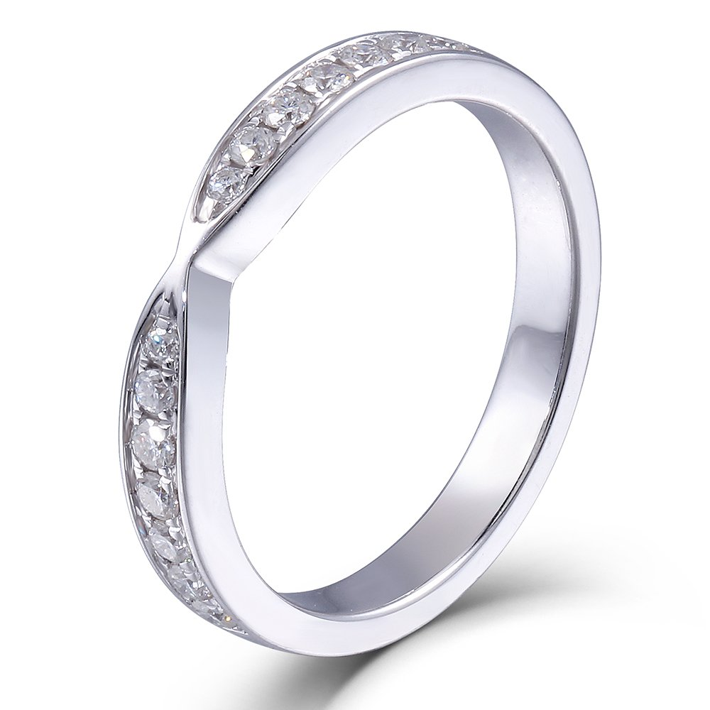 Platinum Plated Silver 2.85MM Width Moissanite Half Eternity Anniversary Wedding Band Rings for Women by DovEggs