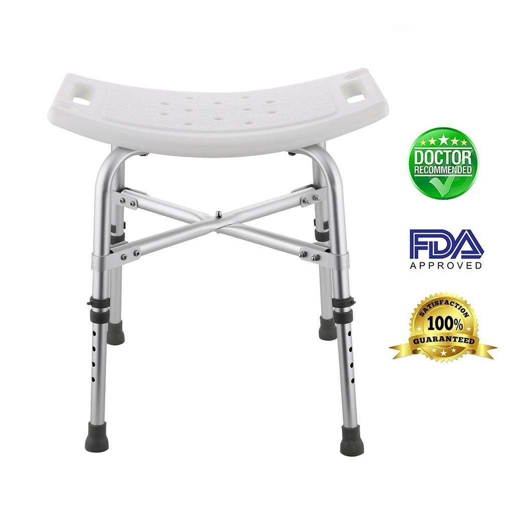 Oguine Adjustable Shower Seat, Portable Sturdy Spa Bathtub Shower Stool Seat Bench Bathroom Aid