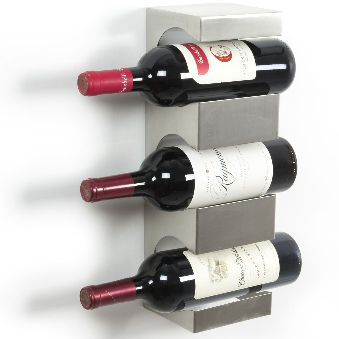 Stainless Steel Wine Rack - Wide Multi Sectional Bottle Holder with Top Shelf Section - Modern Art Design - Wall Mount (3 Bottles)