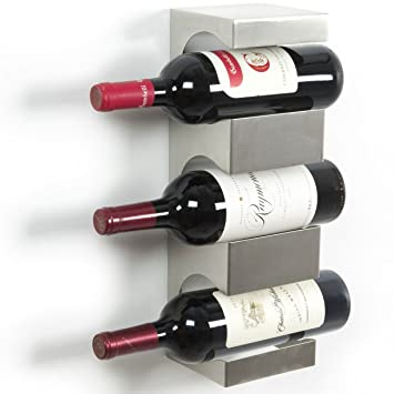 Stainless Steel Wine Rack Wide Multi Sectional Bottle Holder With Top Shelf Section Modern Art Design Wall Mount 3 Bottles