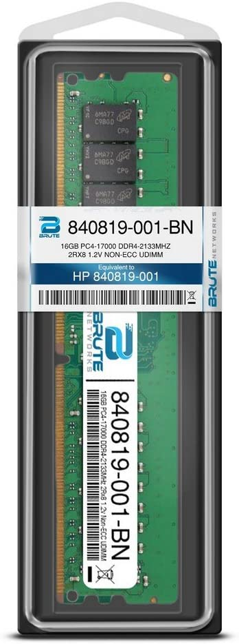 Equivalent to OEM PN # 840819-001 16GB PC4-17000 DDR4-2133MHz 2Rx8 1.2v Non-ECC UDIMM Brute Networks 840819-001-BN