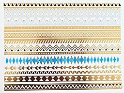Modern Boho 5 Sheets Metallic Tattoos, Gold/Silver Flash, Namaste Collection