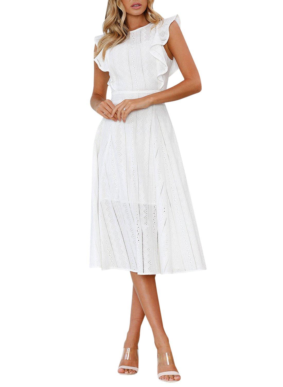 REMASIKO Womens Dresses Elegant Cocktail Party Ruffles Summer Boho A-Line Midi Dress XL White