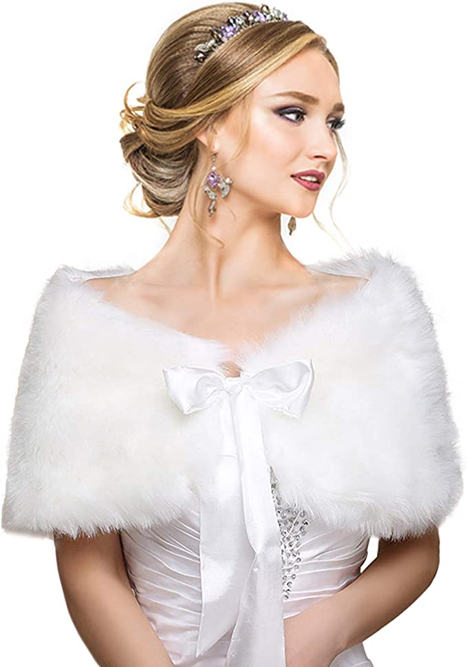 TALLA S-M. EQLEF White Faux Fur Wrap Shawl Shrug Bolero Cape Lady Gift