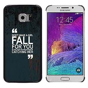 Funda para Smartphone carcasa rígida cubierta protectora para Samsung Galaxy S6 EDGE/funda TECELL Store/las marcas diseño de raquetas de inspirador Diseño de chica con love con texto en inglés