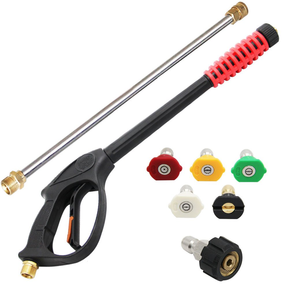 "Twinkle Star 4000 PSI High Pressure Power Washer Gun, 21 Inch Replacement Wand, 5 Spray Nozzles Tips, 3/8"" Quick Disconnect Plug, TWS139"