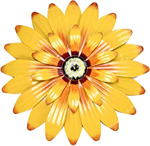 Yeahome 16'' Metal Flower Wall Decor - Sunflower Wall Art Decorations Hanging for Bedroom, Living Room, Bathroom - Daffodil Boho Office/Home Decor, Handmade Gift for Indoor or Outdoor Mothers day gifts