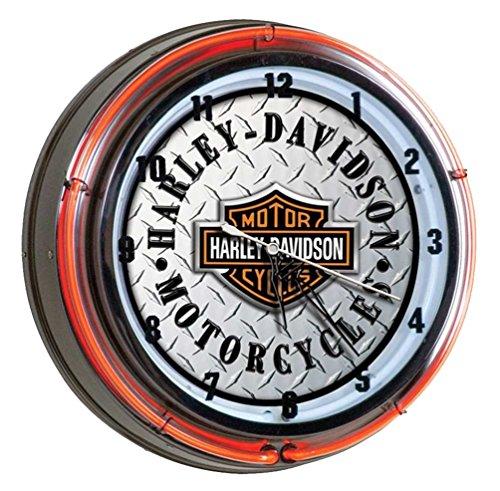 Harley-Davidson Diamond Plated Bar & Shield Neon Clock, Orange Neon HDL-16611