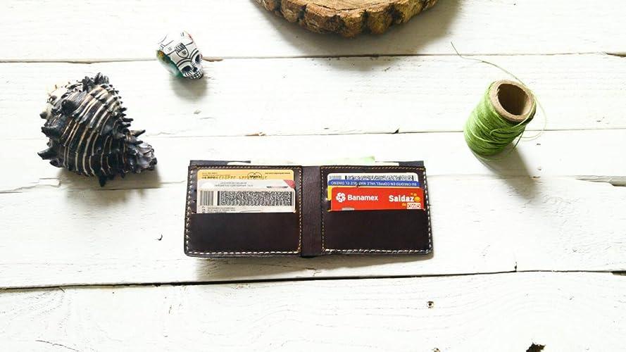Amazon.com: Dark Brown wallet | mens wallet | Gift | without logo| father | boyfriend | card holder | Cartera hombre piel para tarjetas hecha a mano cuero: ...