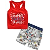 lurryly 2018 baby kids girls boys 4th of july vest tops shorts outfits clothes 2pcs