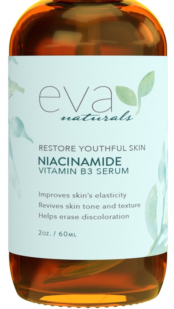 Natural Niacinamide 5% Serum for Face, XL 2 oz. Bottle – Firming Vitamin B3 + Hyaluronic Acid Serum Restores Elasticity, Diminishes Dark Spots, Reduces Blemishes, and Moisturizes by Eva Naturals