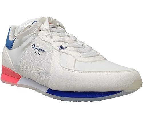 PEPE JEANS Tinker Neon Zapatillas Moda Hombres Blanco - 42 - Zapatillas Bajas: Amazon.es: Zapatos y complementos