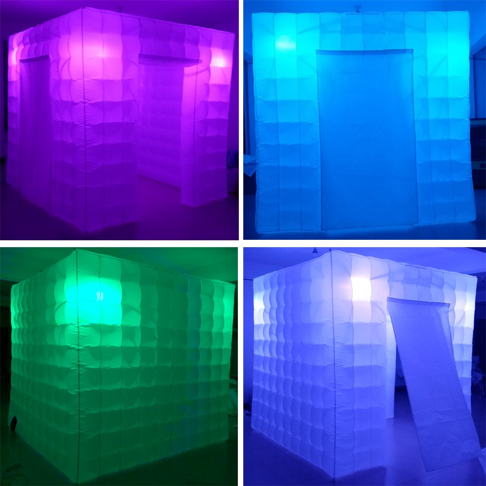 Inflatable Portable Photo Booth Enclosure - Inflatable Photobooth with Led Lights 4 Bulbs and Inner Air Blower Photo Booth Cube for Party, Wedding, Birthday, Halloween Decoration (Two Door White) by AIRMAT FACTORY (Image #4)