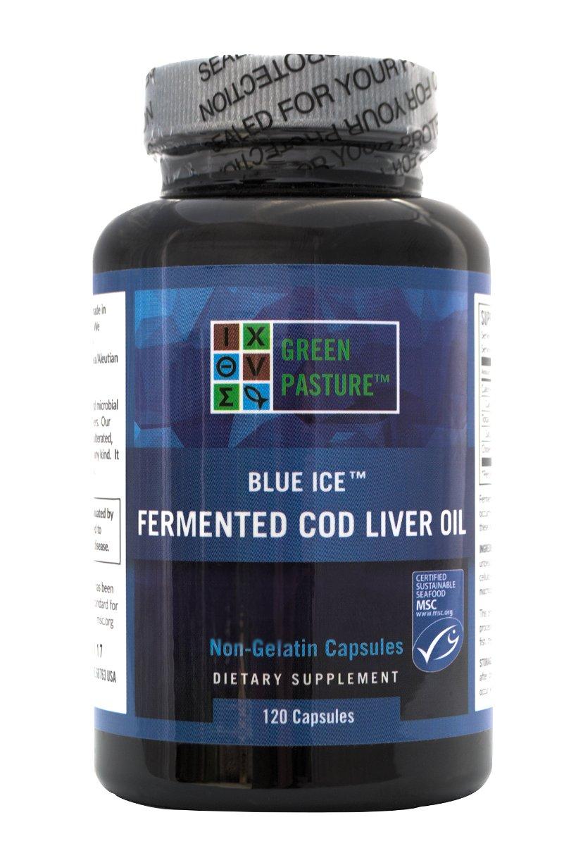 BLUE ICE Fermented Cod Liver Oil -Non-Gelatin 120 Capsules