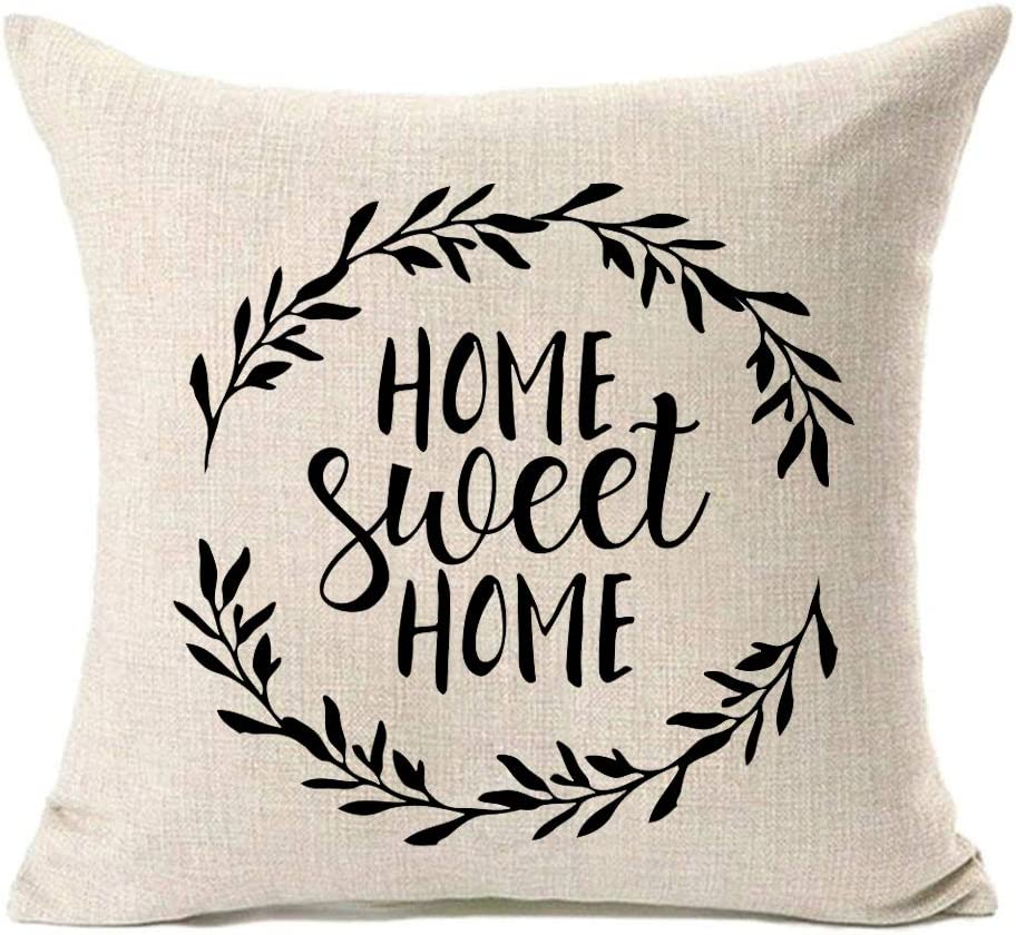 MFGNEH Home Sweet Home Quotes with Garland Farmhouse Pillow Covers 18x18 Inch Home Decor Cotton Linen Throw Pillow Case Cushion Cover for Sofa Couch