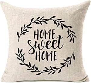 MFGNEH Home Sweet Home Quotes with Garland Farmhouse Pillow Covers 20x20 Inch Home Decor Cotton Linen Throw Pillow Case Cushion Cover for Sofa Couch