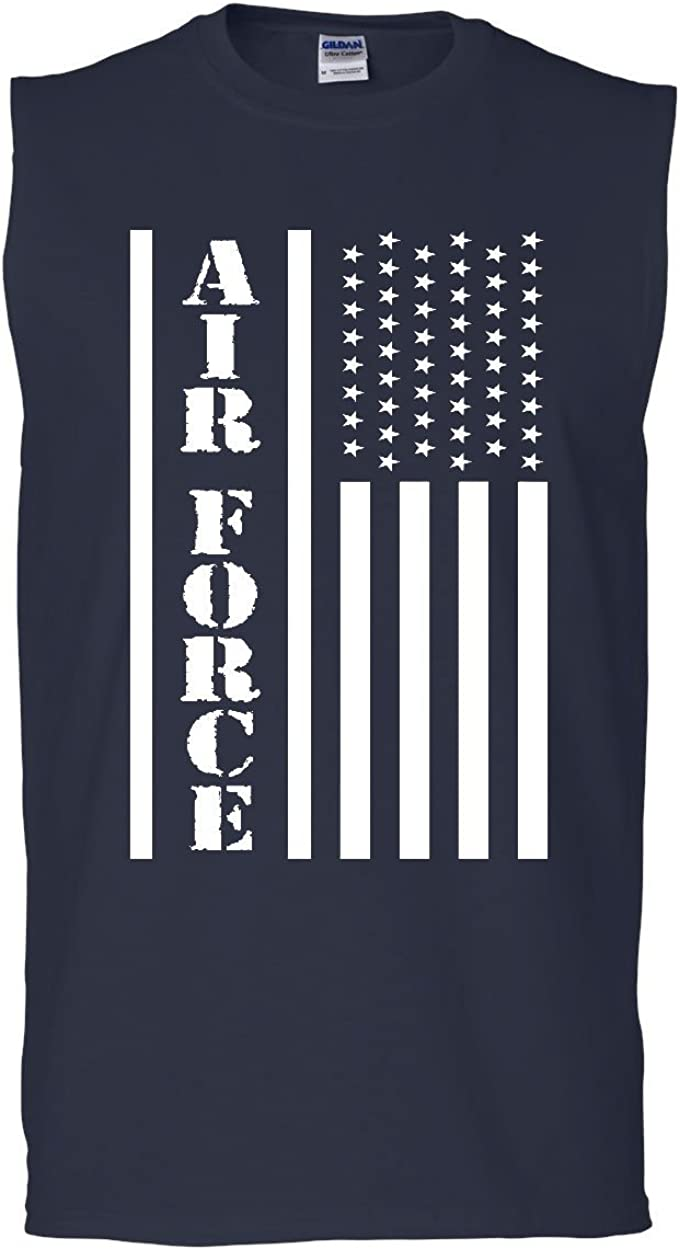 Tee Hunt Navy American Flag Muscle Shirt Patriotic Stars and Stripes Military Sleeveless